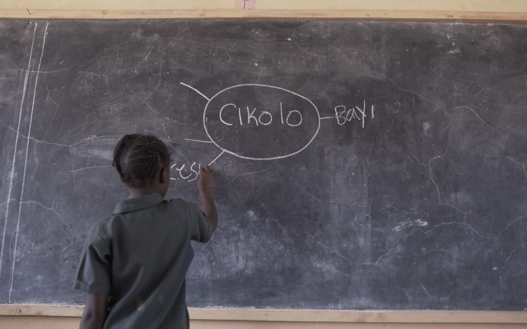A child fills in a mind map on the board during a Catch Up activity in Zambia.