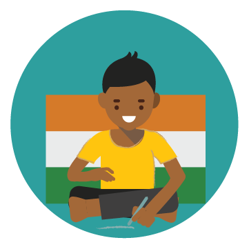 Illustration of boy sitting on floor writing. India flag in background.
