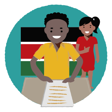 Child sits at desk with a piece of paper. Woman stands behind the child, giving a thumbs up. Background is the Kenyan flag.
