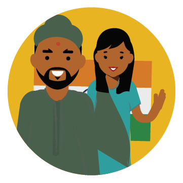 Illustration of a man and woman with Indian flag in the background.