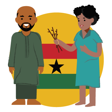 Illustration. Woman holding sticks and man looking ahead. Ghanaian flag in background.