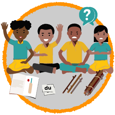 Illustration: four children sit on the floor with reading and mathematics materials (a book, phonetics cards, sticks, and a bundle of sticks) in front of them. Two of the children are smiling with hands raised. The other two look confused and upset, with speech bubbles showing question marks.