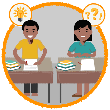 Illustration: two children sit at their desks writing a test. One child is smiling and has a lightbulb near his head, while the other looks confused and has question marks.