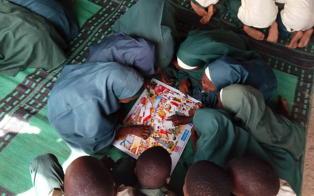 Children play a game during the Teaching at the Right Level pilot in Borno, Nigeria.