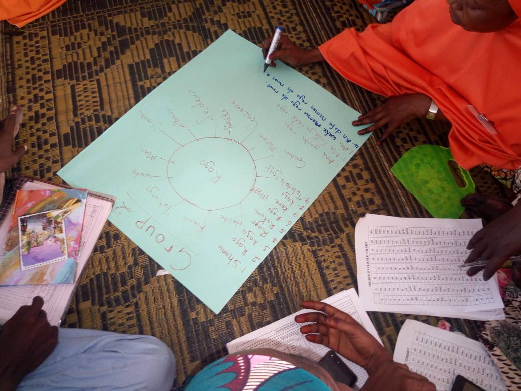 A woman writes a mind map on chart paper during a Teaching at the Right Level training in Borno, Nigeria.