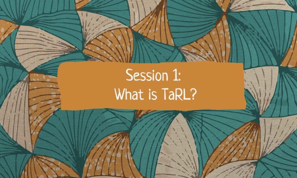 "Title powerpoint slide: ""Session 1: What is TaRL?"" text on a patterned background."