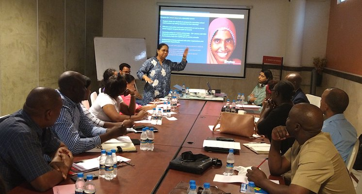 Usha Rane from Pratham India leads a session during the Catch Up team's visit to India.