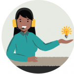 Illustration of a women holding out her hand. A lightbulb floats above her hand. She is wearing headphones with a mic attached.